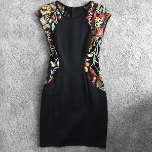 BCX Black Floral Embroidered Bodycon Formal Dress
